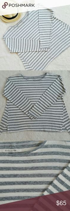 "Eileen Fisher Striped Long Sleeve Tee Shirt Eileen fisher striped long sleeve tee shirt/top. Very versatile basic piece. Size petite large. Pit to pit is 24"" flat and shoulder to hem is 23.5"". In great pre-loved condition. Eileen Fisher Tops Tees - Long Sleeve"
