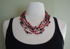 Layered Necklace: Crochet S-Lon Cord w/ Mountain Jade, Red Jade, Dark Red Jade, Matte Red Czech Glass, & Black Glass Beads with White Swirls by JennyLynCrafts on Etsy