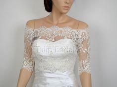 Off-Shoulder dot Lace Bridal Bolero Wedding jacket shrug WJ010 $109.99