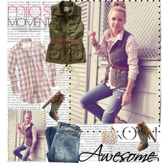 love the combo:  plaid shirt, vest, belt, and the boots are awesome!