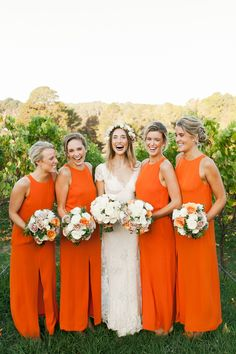 Great bridesmaids dress color Read More: http://www.stylemepretty.com/2014/06/17/modern-and-whimsical-orange-wedding-in-australia/