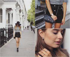 Sonya Esman - River Island Top, Vintage Skirt, Chanel Bag, Asos Earrings, Topshop Floppy Hat, Asos Heeled Booties - South Kensington.