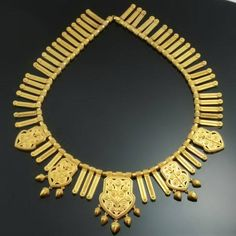 Victorian gold filigree choker necklace, made in France 1867