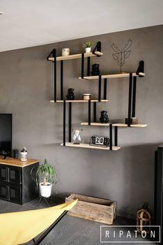 Wall Shelf Decor, Wall Shelves Design, Wood Shelves, Iron Furniture, Home Decor Furniture, Furniture Makeover, Luxury Homes Interior, Home Interior Design, Room Decor