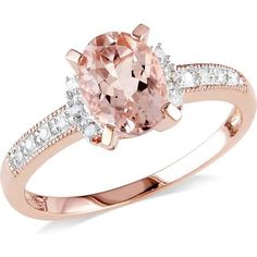 1-1/7 Carat T.G.W. Morganite and Diamond-Accent Pink Rhodium-Plated Sterling Silver Fashion Ring