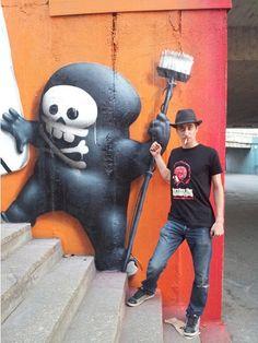 Cool art :D ! And cool cat with a rockin' hat! Graffiti Canvas Art, Graffiti Murals, Graffiti Painting, Street Art Love, Best Street Art, Amazing Street Art, Grafitti Street, Street Art Utopia, Banksy