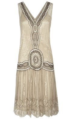 that design/medallion right at the dropped waist is pretty amazing - statement -- Jigsaws Great Gatsby Dress -