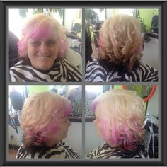 New blonde n dark brown underneath with some pink free lights and curls