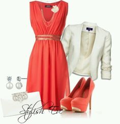 Cute Coral dress outfit / vestido coral con saco