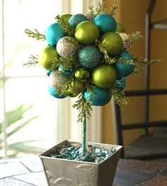 SouthernScraps Happenings: DIY ornament topiary, in turquoise, lime & silver Christmas Topiary, Noel Christmas, Christmas Centerpieces, Xmas Decorations, Winter Christmas, Christmas Wreaths, Christmas Ornaments, Diy Ornaments, Ornament Tree