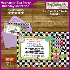Alice in Wonderland Birthday Invitation Mad by DigiGraphics4u #alice #in #wonderland #madhatter #mad #hatter #birthday #party #invitation @etsy