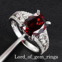 Garnet Diamonds 14K White Gold Engagement Ring!!!