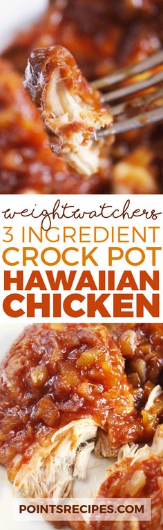 3 Ingredient Crock Pot Hawaiian Chicken (Weight Watchers SmartPoints)