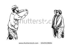 Sketch of bearded man in hat taking photo with smartphone of asian couple, Hand drawn vector illustration #SmartphoneInHand
