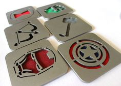 Marvel Avengers Coasters - Visit to grab an amazing super hero shirt now on sale! Super Hero Shirts, Nerd Cave, Cnc Projects, 3d Prints, Arte Pop, Marvel Vs, Coaster Set, Just In Case, Nerdy
