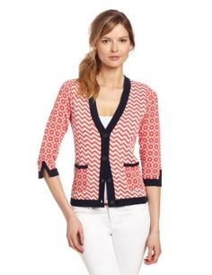 Margaret O'Leary Women's Preppy Cardigan, Tomato Combo, X-Small Margaret O'Leary. $215.00