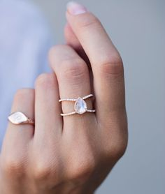14kt gold and diamond Double Band Teardrop Moonstone ring – Luna Skye by Samantha Conn