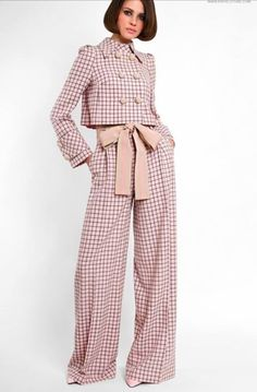 Genuine wool suit with cotton ribbon trim. Turndown collar on stand. Trousers with side pockets and front zip closure. On the photo: model is wearing a size S and is 177 cm. Look Fashion, Hijab Fashion, Fashion Dresses, Womens Fashion, Fashion Design, Fashion Trends, Wool Suit, Mode Outfits, Mode Style