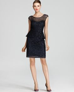 23a74114ba2 Kay Unger Peplum Dress - Sequin Lace