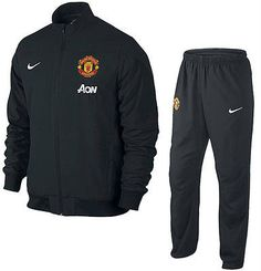 c4057083d NIKE MANCHESTER UNITED SQUAD SIDELINE WOVEN WARM UP SUIT 2013 14 BLACK.  MORE MANCHESTER