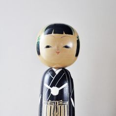 Vintage Hand Painted Wooden Kokeshi Japanese Doll Made in