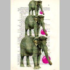 3 elephants bubblegum-Original Illustration-Art Print-Art Poster-Hand Painting Mixed Media-Kids Wall Art Dictionary Decors Safari elephant. $10.00, via Etsy.