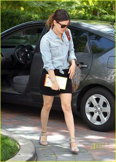 rachel-bilson-denim-shirt-wedge-heels-niketown