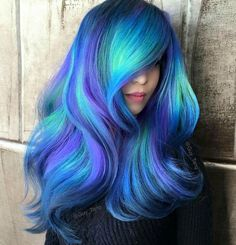 Blue Teal Purple Colour Colored  Coloured Color Hair Style Bright