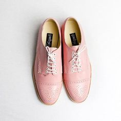 pastel pink oxford brogue shoes