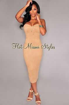 Mocha Faux Suede Padded Midi Dress