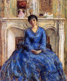 Frederick Carl Frieseke - Der blaue Mantel - The Blue Coat- After studying for a short while at the Art Institute of Chicago and the Art Students League in New York, Frieseke left for France in 1898, and almost all of his career was spent as an expatriate, with ties to the United States maintained through his New York dealer,