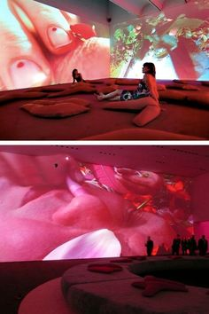 Pipilotti Rist, Sip My Ocean, double screen video projection installation at the Museum of Contemporary Art, Sydney Dark Fantasy Art, Projection Installation, Art Installations, Pipilotti Rist, Instalation Art, New Media Art, Interactive Art, Exhibition Display, Royal Ballet