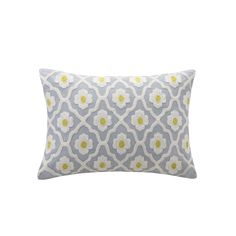 Create a bold new look in your bedroom with the Echo Design Madira bedding collection. The grey oblong pillow features  yellow and white embroidery…