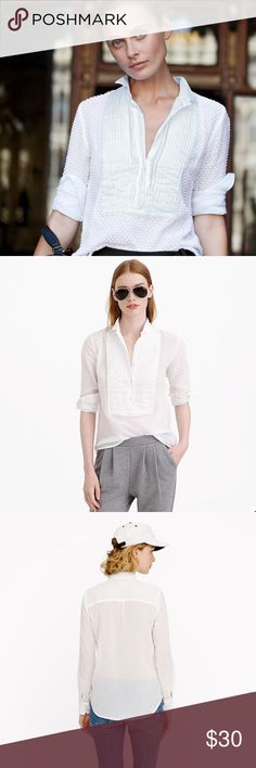 """J. Crew White Swiss Dot Tuxedo Shirt, sz 8 J. Crew White Swiss Dot Tuxedo Shirt, size 8, new without tags (ordered & removed tags- tried on but never worn; unfortunately now it no longer fits).    PRODUCT DETAILS Light, crisp and airy, this top was such a crowd-pleaser that we had to bring it back from our archives. We love the mix of summery swiss-dot with a polished pleated bib, a nod to men's formalwear.  -Cotton. -Long sleeves. -Machine wash. -Import. -Item 01990. -Body length: 26 3/4""""…"""