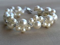 Ivory pearl Bracelet,Glass Pearl Bracelet,Pearl  Flower Bracelet,Wedding Bracelet,Crystal bracelet,Bridesmaid Bracelet,Jewelry on Etsy, £4.36