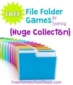 Free File Folder Games for Homeschool Learning and Fun! Kindergarten Games, Preschool Games, Free Preschool, Preschool Printables, Preschool Classroom, Preschool Learning, Folder Games For Toddlers, File Folder Activities, File Folder Games