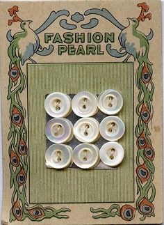 Fashion Pearl vintage button card with peacock border graphic