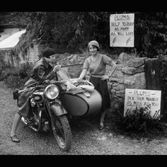 Vintage Picture Of Two Girls And Sidecar Motorcycle