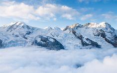 Download wallpapers winter mountain landscape, snow, rocks, blue sky, winter #LandscapeWallpaper