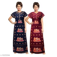Nightdress Women's Cotton Jaipuri Multipack of 2 Fabric: Cotton Sleeve Length: Short Sleeves Pattern: Printed Multipack: 2 Sizes: Free Size (Length Size: 54 in)  Country of Origin: India Sizes Available: Free Size, XL, XXL, XXXL   Catalog Rating: ★4 (644)  Catalog Name: Women's Cotton Jaipuri Nightdresses CatalogID_1959975 C76-SC1044 Code: 655-10676744-1731