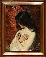Bertha Wegmann: Study of a female nude. Signed B.