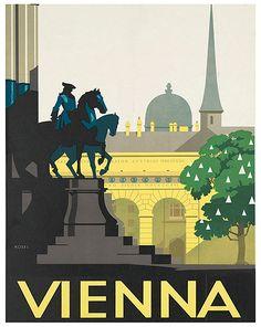 Travel Poster Vienna Austria Art Print Home Decor by Blivingstons