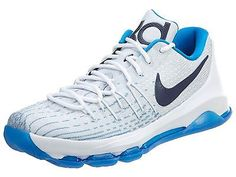Nike KD 8 Home Mens 749375-144 White Photo Blue Durant Basketball Shoes Sz 11.5