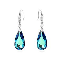 Crystal from Swarovski Luxury Teardrop Shape Drop Dangle Earrings for Woman Charm Brincos Jewelry Made with Swarovski Element