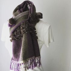 """ウール綿秋冬春手織りマフラー """"ラメ入りPurple & Brown"""" with ストールピン  http://ift.tt/2dQNEI1  #fashionitem #winterfashion #brown #purple #handwovenscarf #handwoven #手織りマフラー #ユニセックス #ピンブローチ #ストールピン #pinkoi #iichi #creema #minne"""