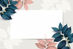 Rectangle white frame on pink and blue leaf pattern background vector premium image by wan Powerpoint Background Design, Powerpoint Design Templates, Vector Background, Background Patterns, Frame Background, Flower Background Wallpaper, Flower Backgrounds, Wallpaper Backgrounds, Iphone Wallpaper