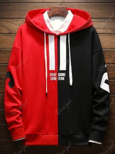 Contrast Color Letter Drawstring Hoodie - Best Picture For outfits semiformales For Your Taste You are looking for something, and it is goi - Trendy Hoodies, Cool Hoodies, Hoodie Outfit, Red Hoodie, Skull Hoodie, Hoodie Jacket, Stylish Letters, Sweat Shirt, Mens Sweatshirts
