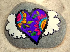 Fairy Tale Heart / Painted Rock/ Sandi Pike por LoveFromCapeCod, $35,00