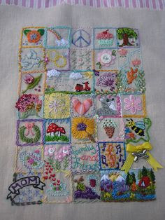 I ❤ embroidery . . .  35 Squares by Lisa Leggett- Blogged at lisasteatime.blogspot.com/2010/04/34th-35th-squares.html