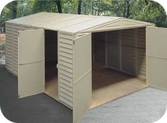 The Vinyl Garage 10x15 from DuraMax Sheds is an extra large vinyl shed kit with 1 window and a foundation floor framing kit included free!